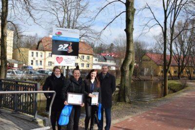 WOŚP 2019: Patronat mostu przy UM dla Budocentrum Ostróda.